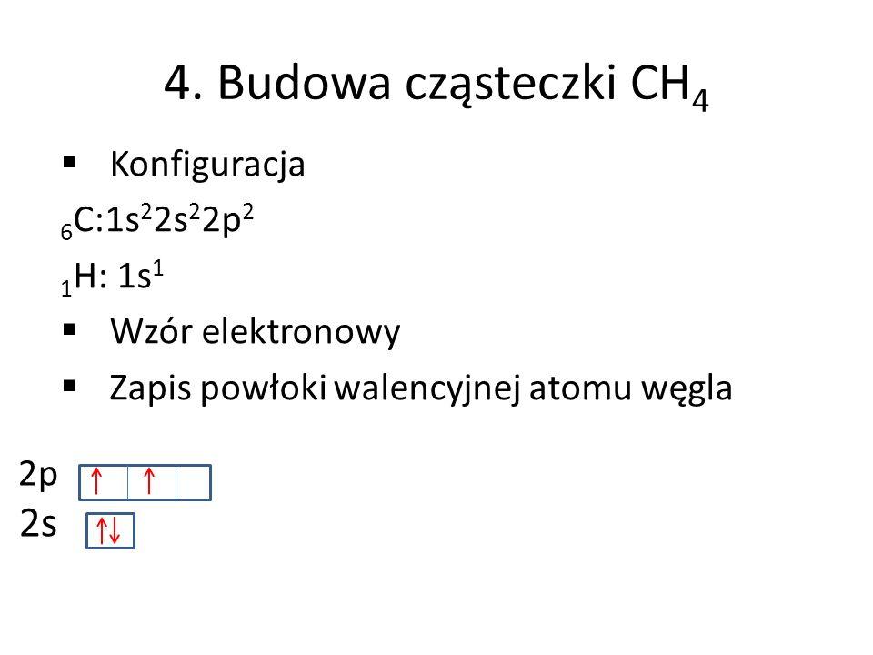 4. Budowa cząsteczki CH 4 Konfiguracja 6 C:1s 2 2s 2 2p 2 1 H: 1s 1 Wzór elektronowy Zapis powłoki walencyjnej atomu węgla 2p 2s