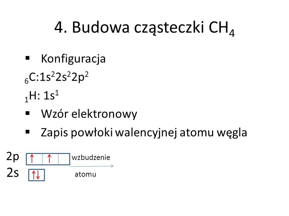 4. Budowa cząsteczki CH 4 Konfiguracja 6 C:1s 2 2s 2 2p 2 1 H: 1s 1 Wzór elektronowy Zapis powłoki walencyjnej atomu węgla 2p wzbudzenie 2s atomu