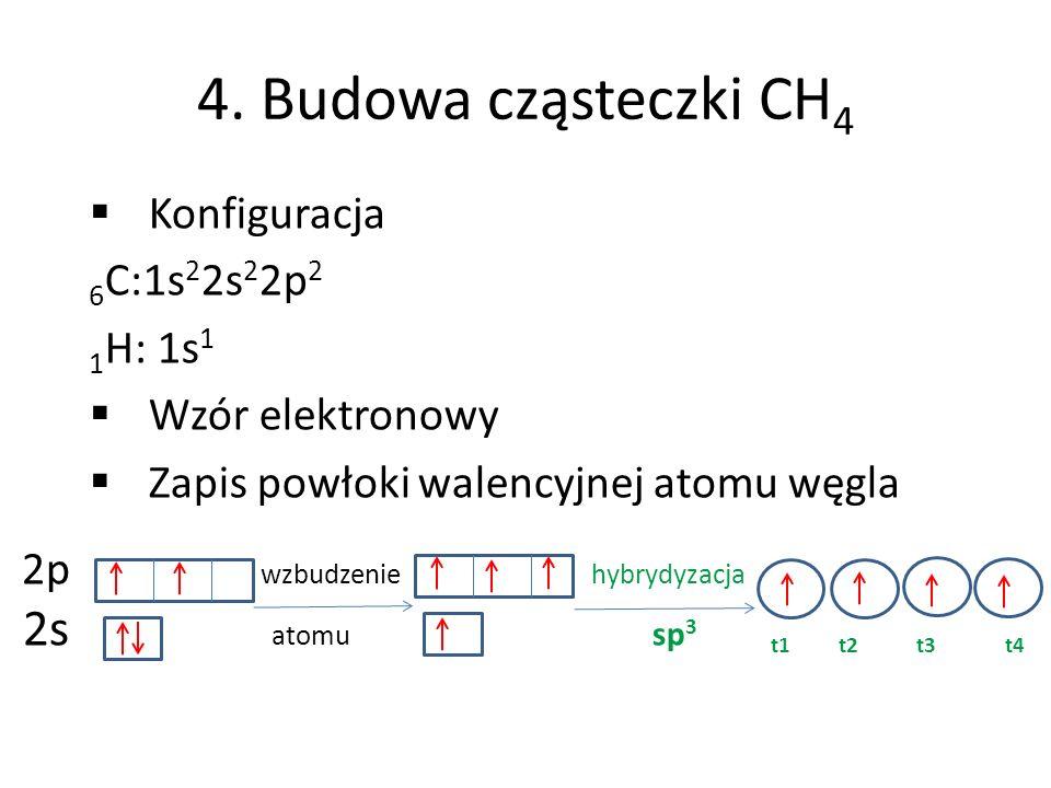 4. Budowa cząsteczki CH 4 Konfiguracja 6 C:1s 2 2s 2 2p 2 1 H: 1s 1 Wzór elektronowy Zapis powłoki walencyjnej atomu węgla 2p wzbudzenie hybrydyzacja