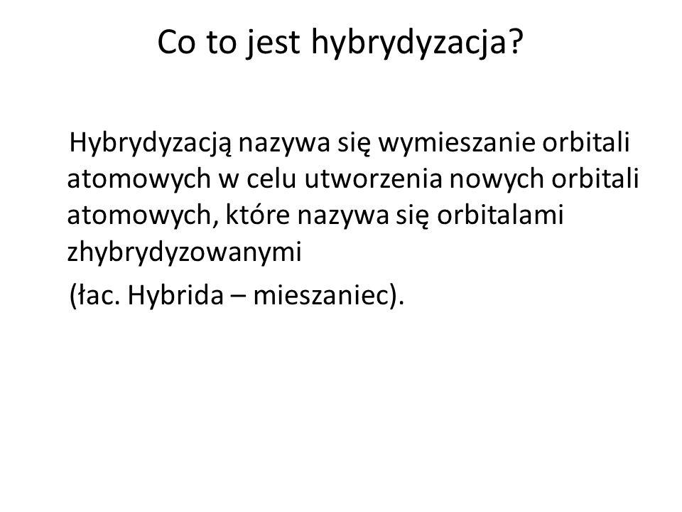 2.Idea procesu hybrydyzacji W procesie hybrydyzacji mogą zostać wymieszane orbitale atomowe o różnym kształcie i energii Hybrydyzacja jest operacją matematyczną, pozwalającą na wyznaczenie rozkładu przestrzennego elektronów w cząsteczkach.