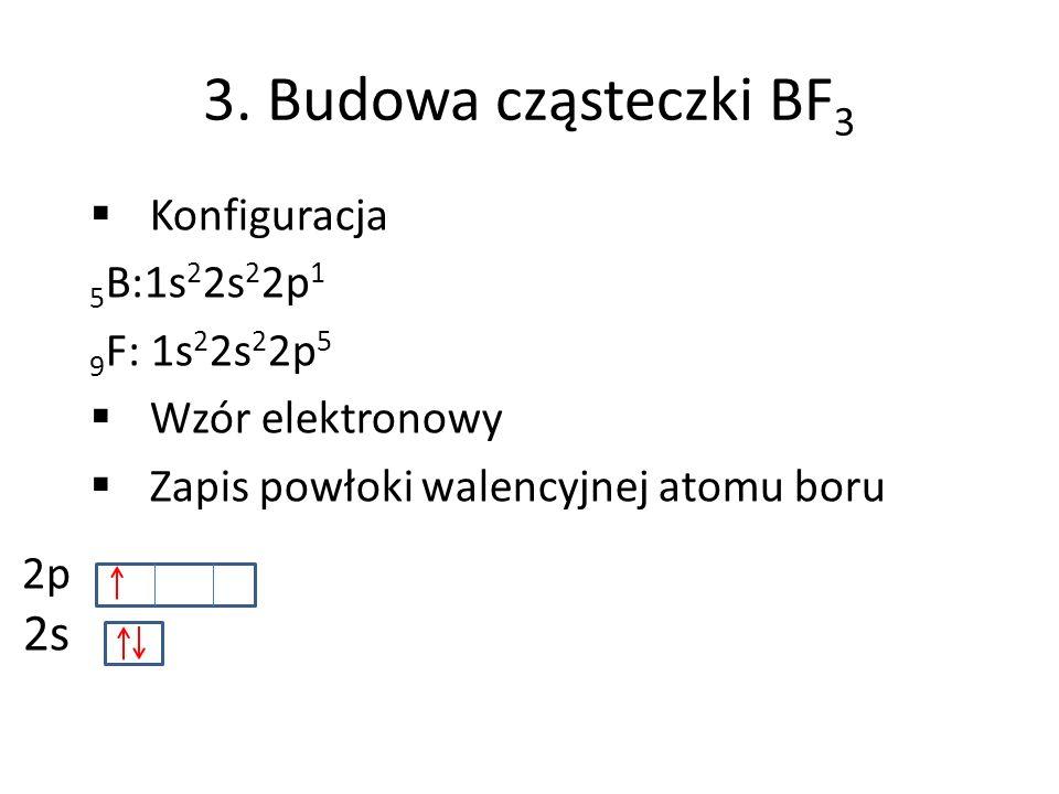 3. Budowa cząsteczki BF 3 Konfiguracja 5 B:1s 2 2s 2 2p 1 9 F: 1s 2 2s 2 2p 5 Wzór elektronowy Zapis powłoki walencyjnej atomu boru 2p 2s