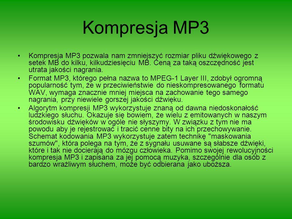 Kompresja MP3 Kompresja MP3 pozwala nam zmniejszyć rozmiar pliku dźwiękowego z setek MB do kilku, kilkudziesięciu MB. Ceną za taką oszczędność jest ut