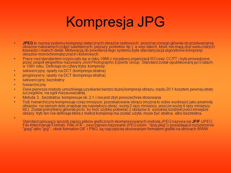 Kompresja JPG JPEG to nazwa systemu kompresji statycznych obrazów rastrowych, przeznaczonego głównie do przetwarzania obrazów naturalnych (zdjęć satel