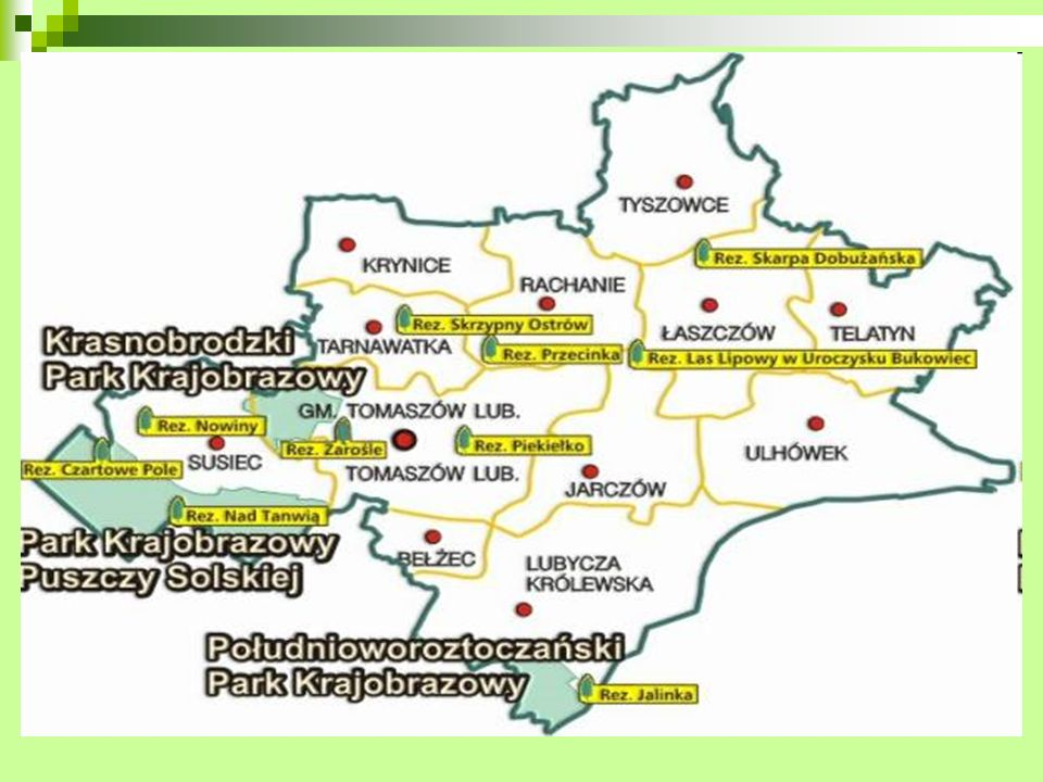 Krasnobrodzki Park Krajobrazowy Powierzchnia 9390 ha, utworzony w 1988 r.