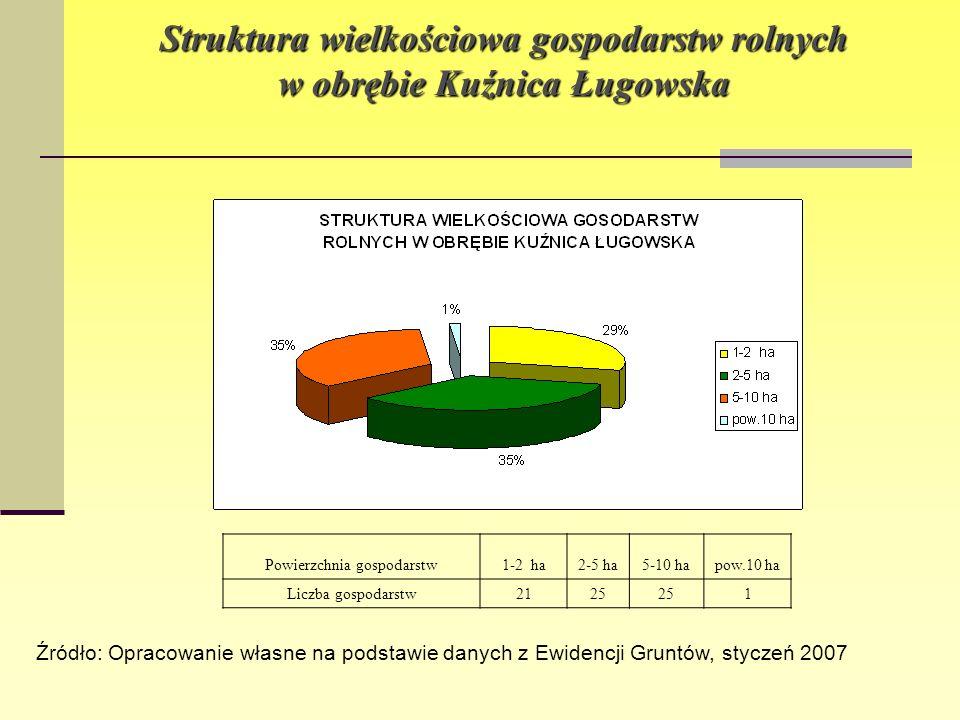 Struktura wielkościowa gospodarstw rolnych w obrębie Kuźnica Ługowska Powierzchnia gospodarstw1-2 ha2-5 ha5-10 hapow.10 ha Liczba gospodarstw2125 1 Źr