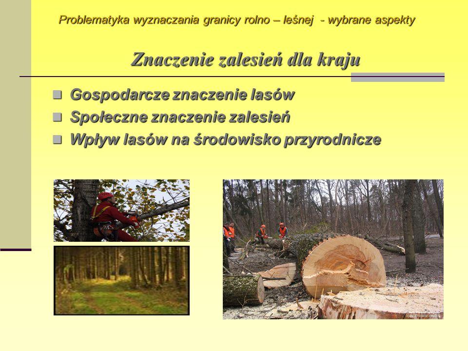 Znaczenie zalesień dla kraju Gospodarcze znaczenie lasów Gospodarcze znaczenie lasów Społeczne znaczenie zalesień Społeczne znaczenie zalesień Wpływ l