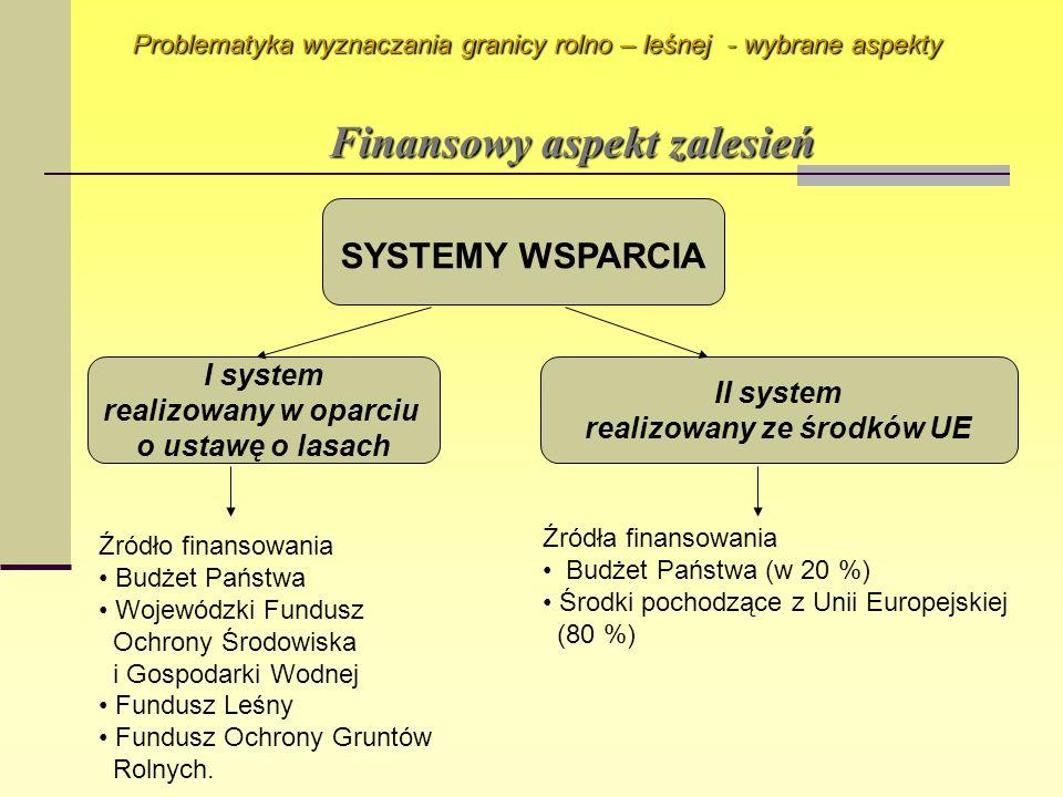 Finansowy aspekt zalesień Problematyka wyznaczania granicy rolno – leśnej - wybrane aspekty SYSTEMY WSPARCIA I system realizowany w oparciu o ustawę o