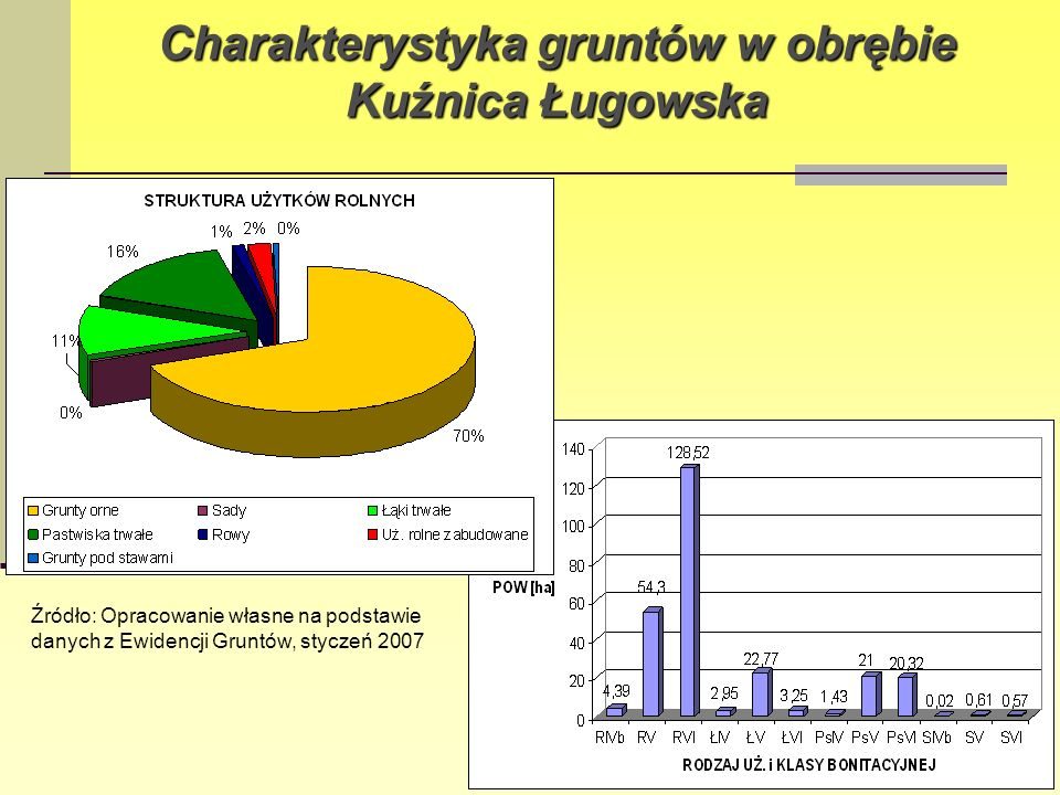 Struktura wielkościowa gospodarstw rolnych w obrębie Kuźnica Ługowska Powierzchnia gospodarstw1-2 ha2-5 ha5-10 hapow.10 ha Liczba gospodarstw2125 1 Źródło: Opracowanie własne na podstawie danych z Ewidencji Gruntów, styczeń 2007