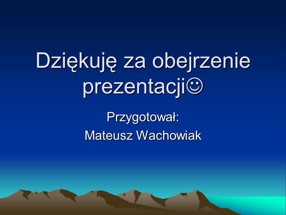 Dziękuję za obejrzenie prezentacji Dziękuję za obejrzenie prezentacji Przygotował: Mateusz Wachowiak