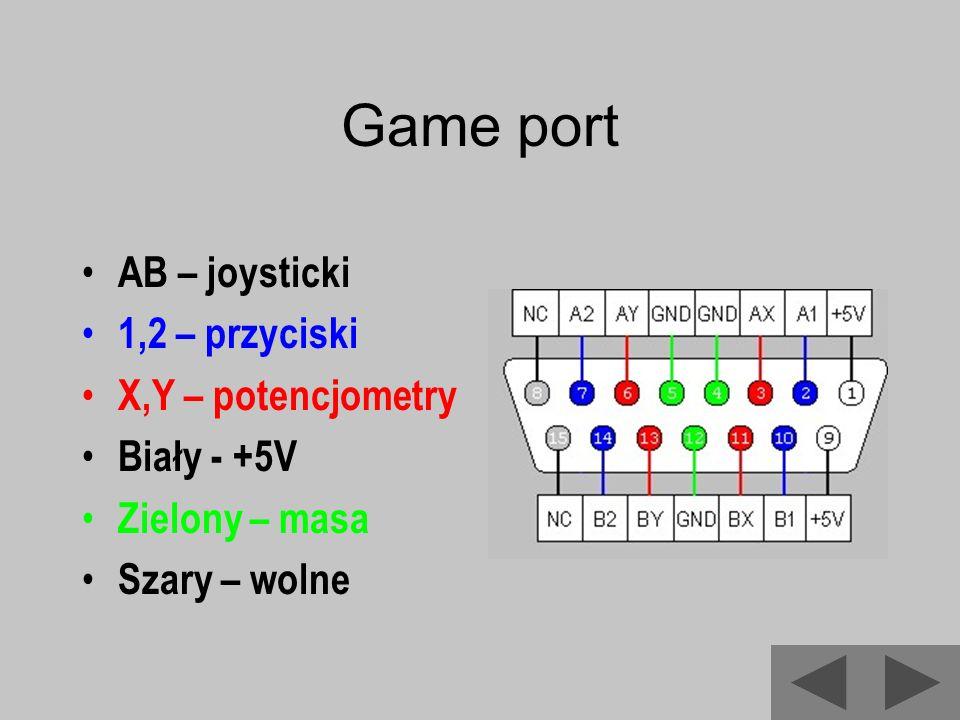 Game port AB – joysticki 1,2 – przyciski X,Y – potencjometry Biały - +5V Zielony – masa Szary – wolne