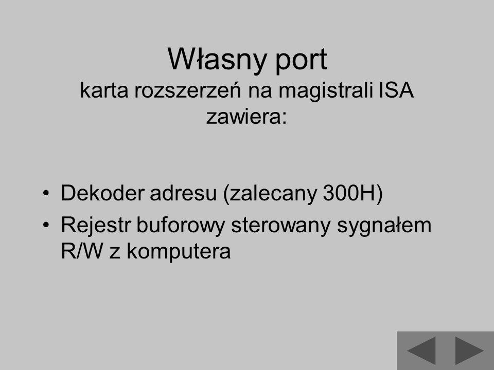 Własny port karta rozszerzeń na magistrali ISA zawiera: Dekoder adresu (zalecany 300H) Rejestr buforowy sterowany sygnałem R/W z komputera