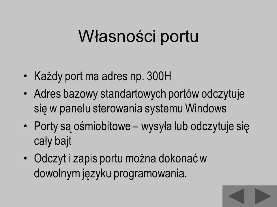 Własności portu Każdy port ma adres np. 300H Adres bazowy standartowych portów odczytuje się w panelu sterowania systemu Windows Porty są ośmiobitowe