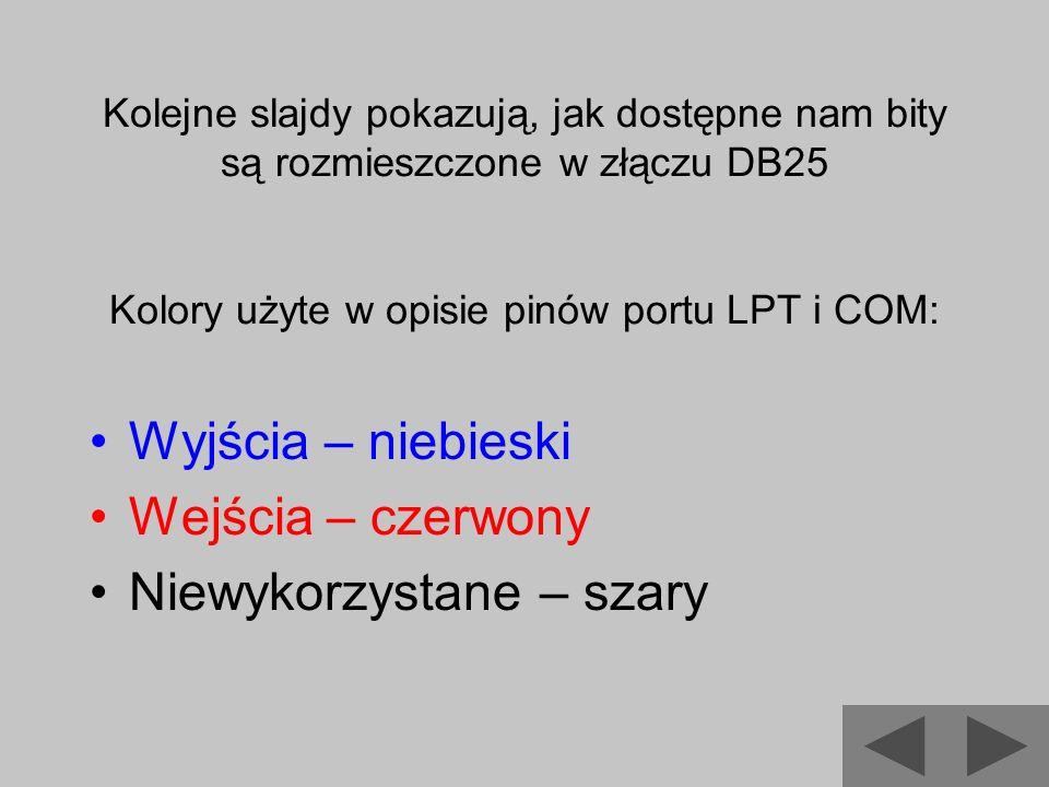 Kolejne slajdy pokazują, jak dostępne nam bity są rozmieszczone w złączu DB25 Kolory użyte w opisie pinów portu LPT i COM: Wyjścia – niebieski Wejścia
