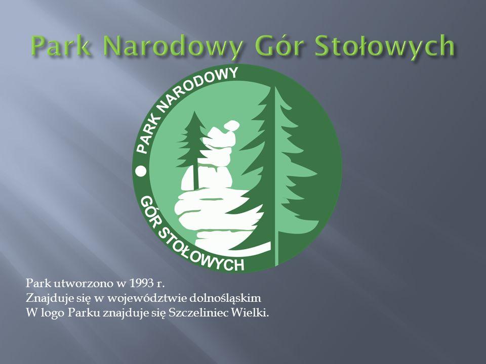 Park utworzono w 1993 r. Znajduje się w województwie dolnośląskim W logo Parku znajduje się Szczeliniec Wielki.