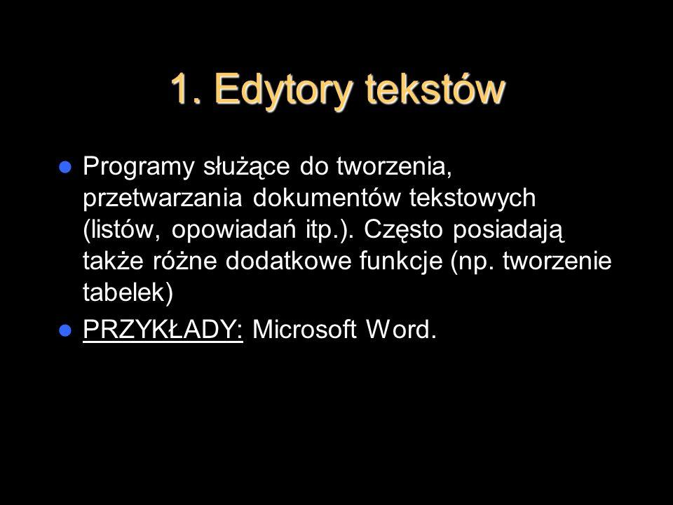 1. Edytory tekstów Programy służące do tworzenia, przetwarzania dokumentów tekstowych (listów, opowiadań itp.). Często posiadają także różne dodatkowe