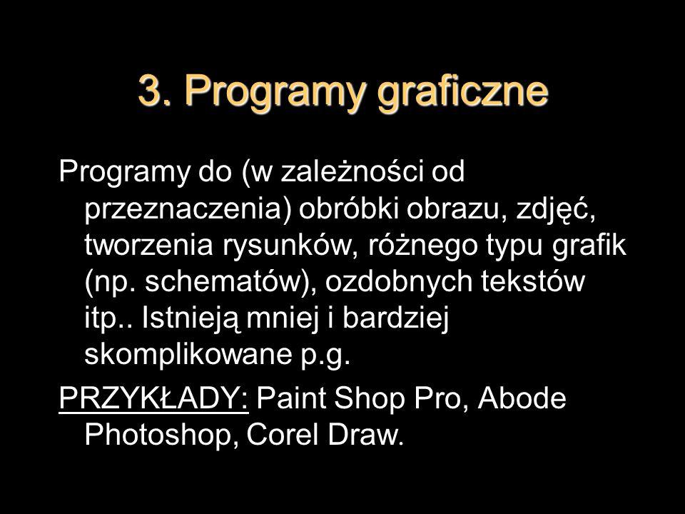 3. Programy graficzne Programy do (w zależności od przeznaczenia) obróbki obrazu, zdjęć, tworzenia rysunków, różnego typu grafik (np. schematów), ozdo