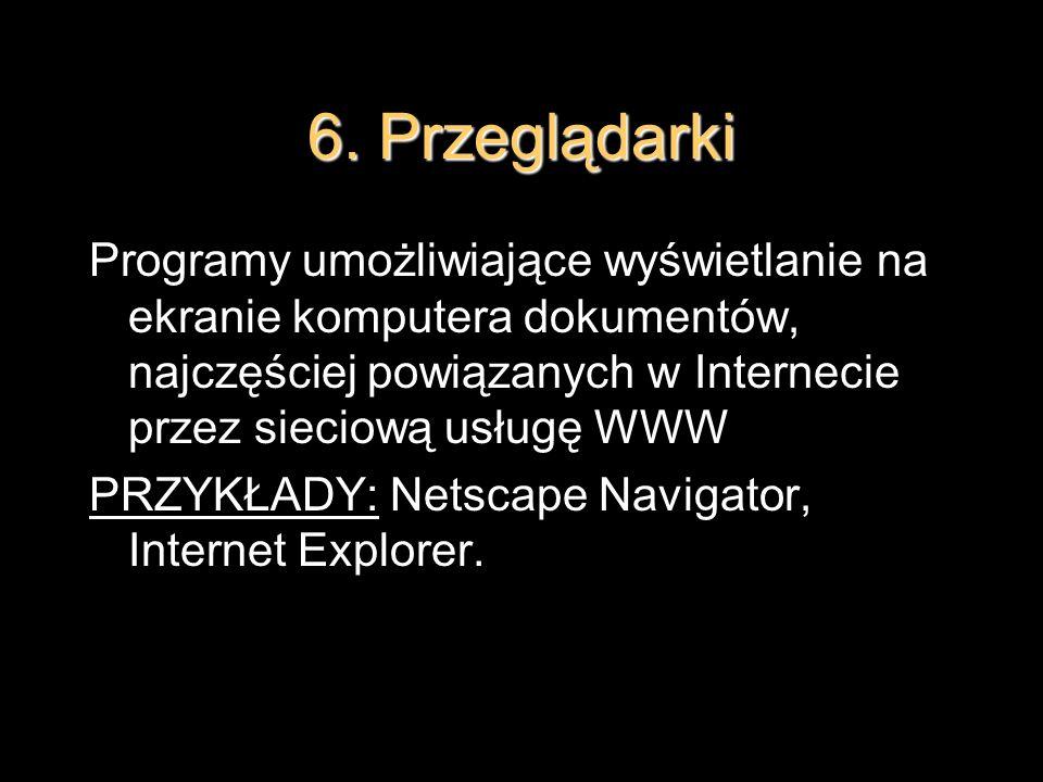 6. Przeglądarki Programy umożliwiające wyświetlanie na ekranie komputera dokumentów, najczęściej powiązanych w Internecie przez sieciową usługę WWW PR