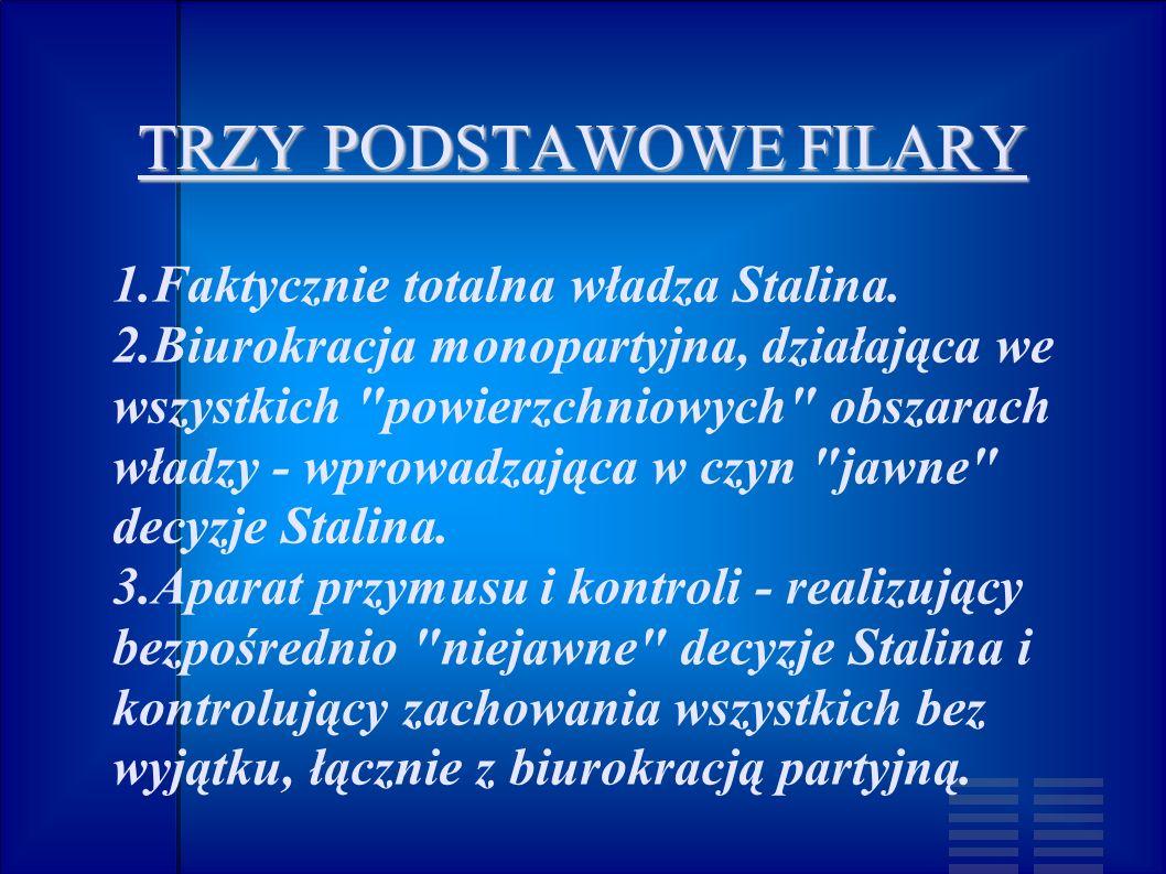 TRZY PODSTAWOWE FILARY 1.Faktycznie totalna władza Stalina. 2.Biurokracja monopartyjna, działająca we wszystkich