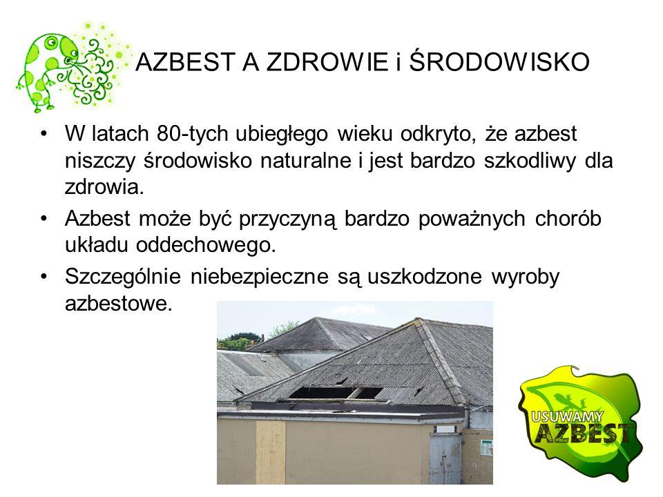 AZBEST A ZDROWIE i ŚRODOWISKO W latach 80-tych ubiegłego wieku odkryto, że azbest niszczy środowisko naturalne i jest bardzo szkodliwy dla zdrowia. Az