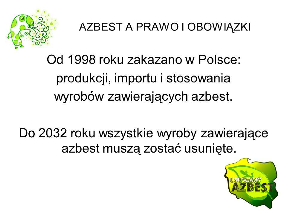 AZBEST A PRAWO I OBOWIĄZKI Od 1998 roku zakazano w Polsce: produkcji, importu i stosowania wyrobów zawierających azbest. Do 2032 roku wszystkie wyroby