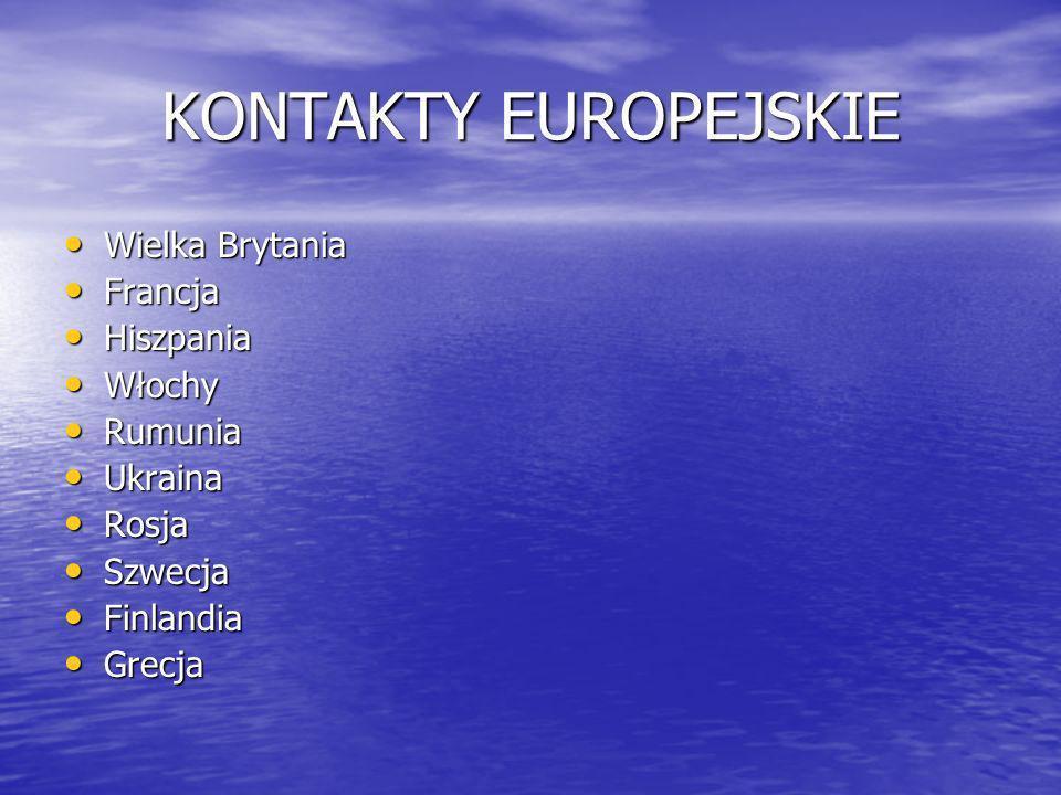 KONTAKTY EUROPEJSKIE Wielka Brytania Wielka Brytania Francja Francja Hiszpania Hiszpania Włochy Włochy Rumunia Rumunia Ukraina Ukraina Rosja Rosja Szwecja Szwecja Finlandia Finlandia Grecja Grecja