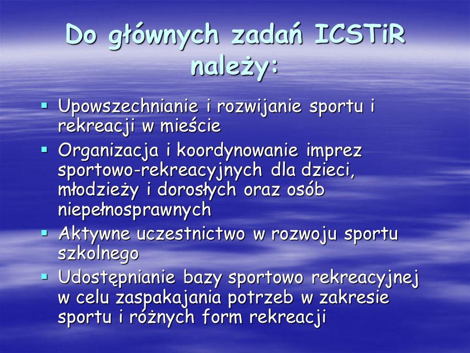 Do głównych zadań ICSTiR należy: Upowszechnianie i rozwijanie sportu i rekreacji w mieście Upowszechnianie i rozwijanie sportu i rekreacji w mieście O
