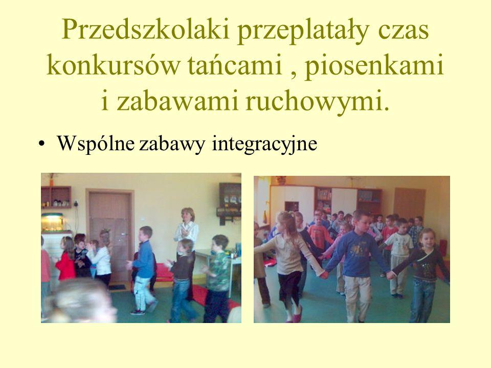 Przedszkolaki przeplatały czas konkursów tańcami, piosenkami i zabawami ruchowymi. Wspólne zabawy integracyjne