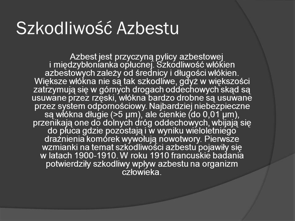 Szkodliwość Azbestu Azbest jest przyczyną pylicy azbestowej i międzybłonianka opłucnej. Szkodliwość włókien azbestowych zależy od średnicy i długości