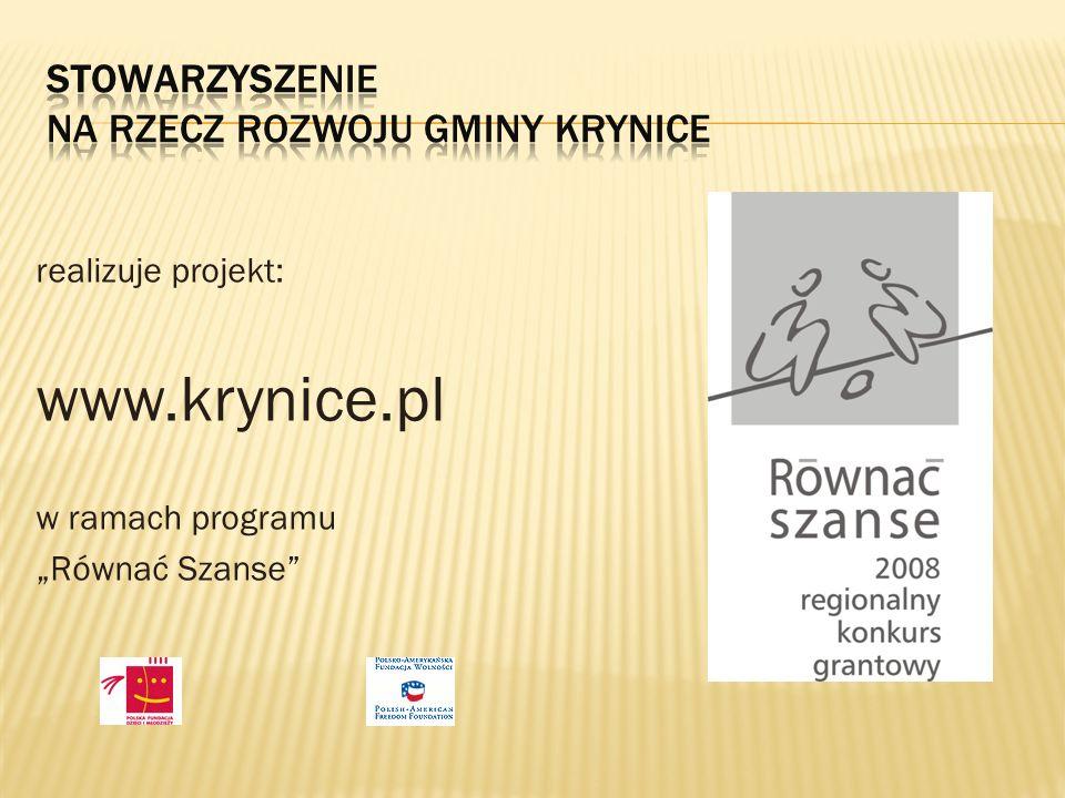 realizuje projekt: www.krynice.pl w ramach programu Równać Szanse