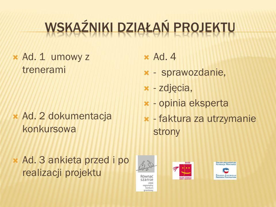 Ad. 1 umowy z trenerami Ad. 2 dokumentacja konkursowa Ad.