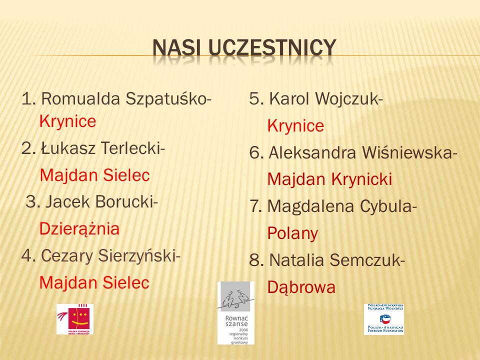 1. Romualda Szpatuśko- Krynice 2. Łukasz Terlecki- Majdan Sielec 3.
