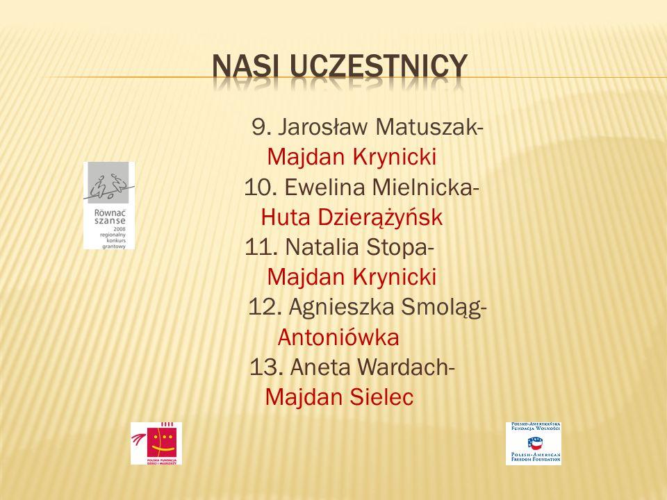 9. Jarosław Matuszak- Majdan Krynicki 10. Ewelina Mielnicka- Huta Dzierążyńsk 11.