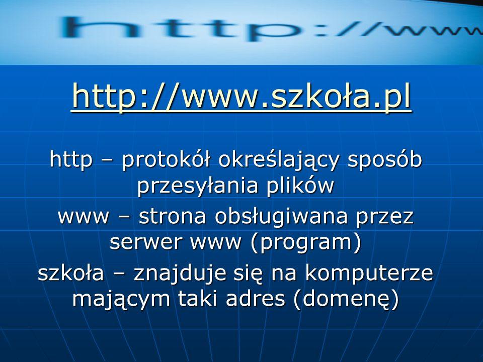 http://www.szkoła.pl http – protokół określający sposób przesyłania plików www – strona obsługiwana przez serwer www (program) szkoła – znajduje się n