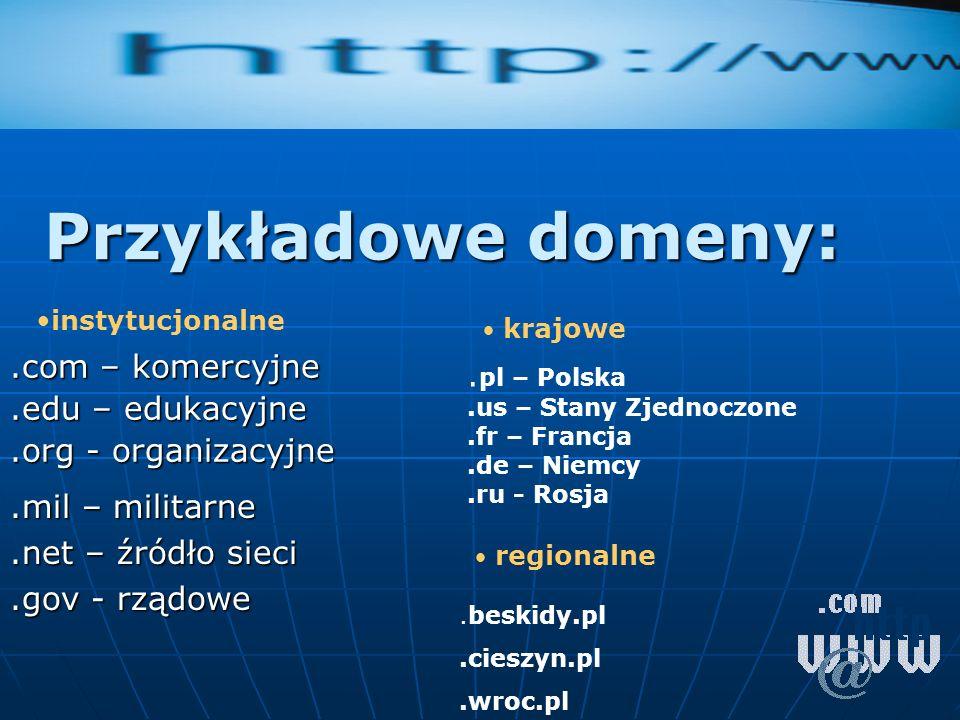 Przykładowe domeny:.com – komercyjne.edu – edukacyjne.org - organizacyjne.mil – militarne.net – źródło sieci.gov - rządowe. pl – Polska.us – Stany Zje