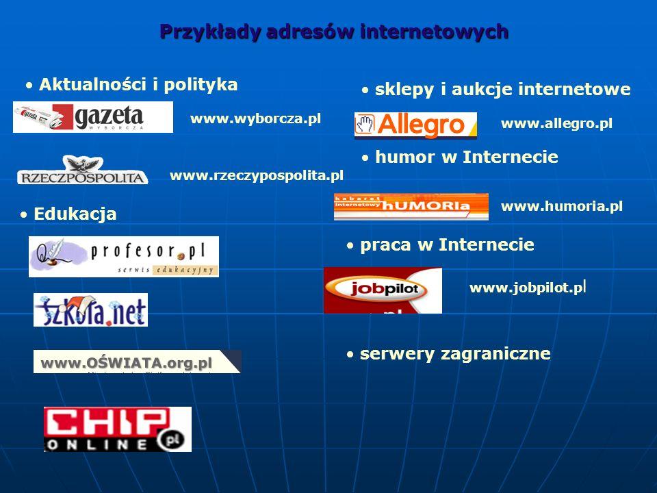 Przykłady adresów internetowych www.rzeczypospolita.pl www.wyborcza.pl Aktualności i polityka Edukacja www.allegro.pl sklepy i aukcje internetowe humo