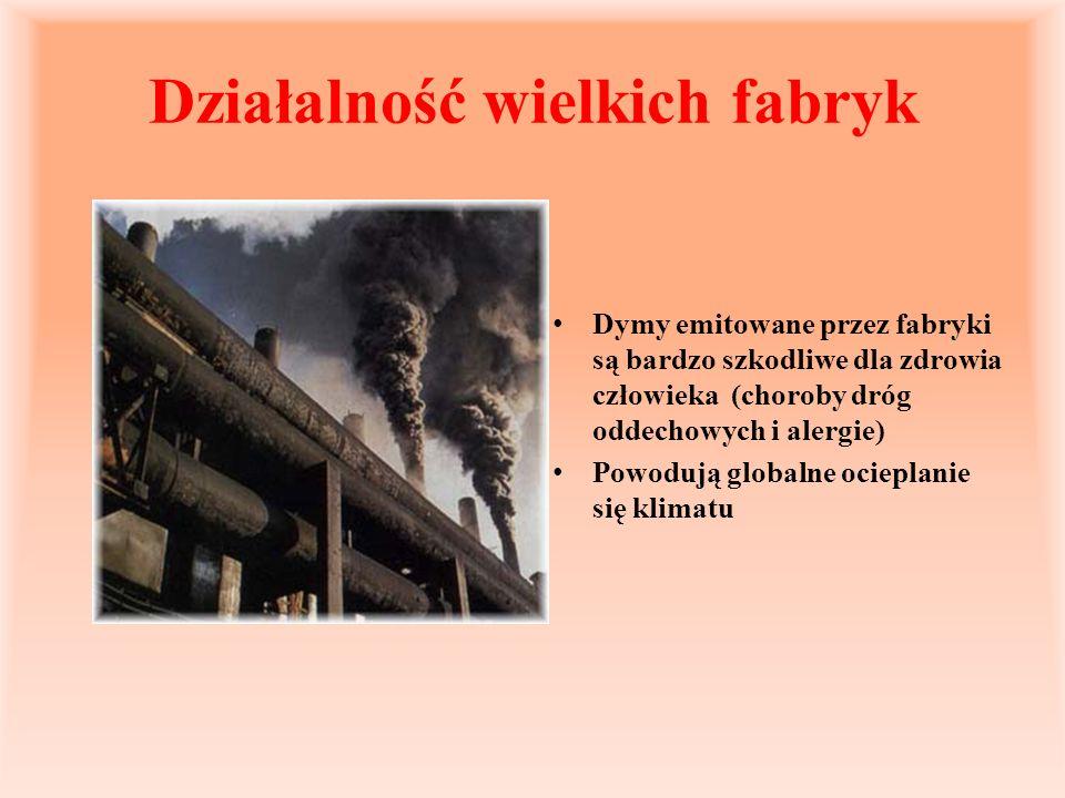 Działalność wielkich fabryk Dymy emitowane przez fabryki są bardzo szkodliwe dla zdrowia człowieka (choroby dróg oddechowych i alergie) Powodują globa