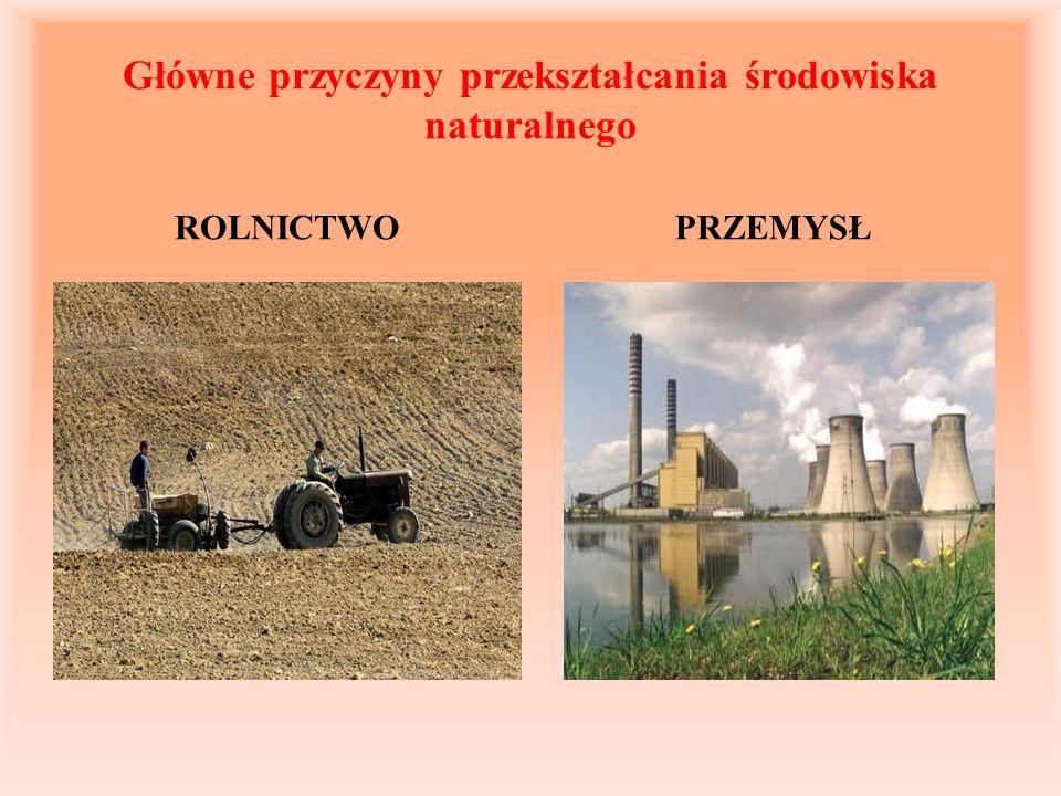 Główne przyczyny przekształcania środowiska naturalnego ROLNICTWOPRZEMYSŁ