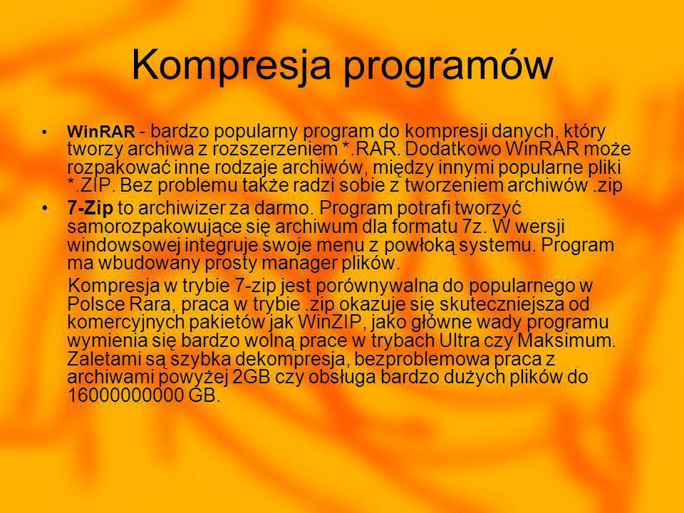 Kompresja programów WinRAR - bardzo popularny program do kompresji danych, który tworzy archiwa z rozszerzeniem *.RAR.