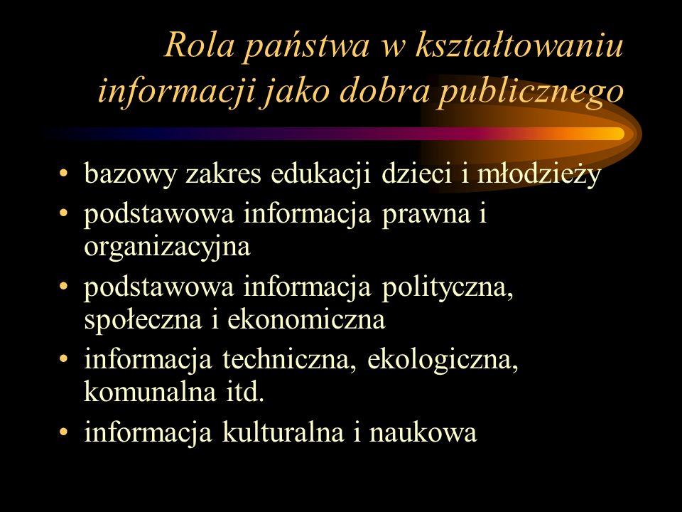 Rola państwa w kształtowaniu informacji jako dobra publicznego bazowy zakres edukacji dzieci i młodzieży podstawowa informacja prawna i organizacyjna