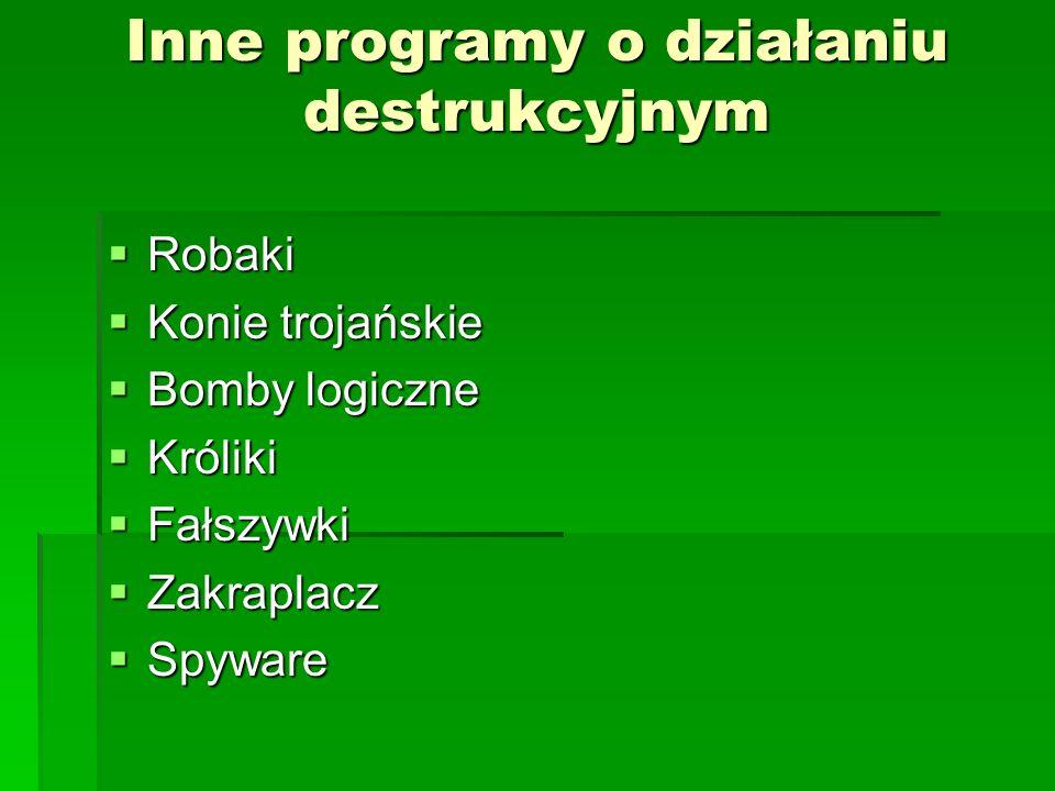Inne programy o działaniu destrukcyjnym Robaki Robaki Konie trojańskie Konie trojańskie Bomby logiczne Bomby logiczne Króliki Króliki Fałszywki Fałszy