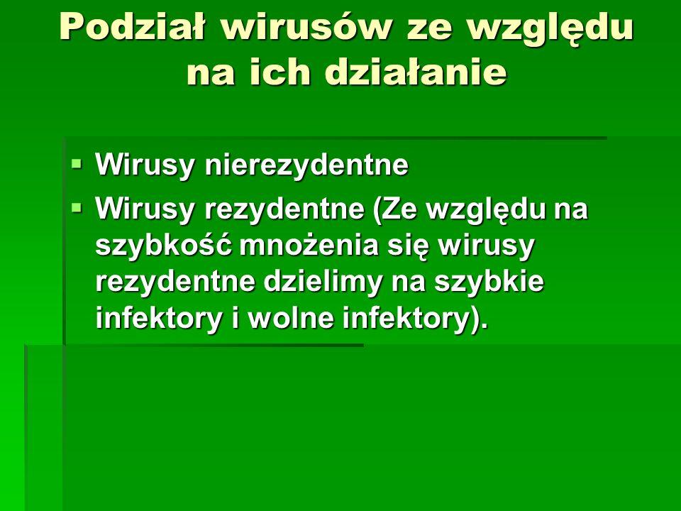 Podział wirusów ze względu na ich działanie Wirusy nierezydentne Wirusy nierezydentne Wirusy rezydentne (Ze względu na szybkość mnożenia się wirusy re