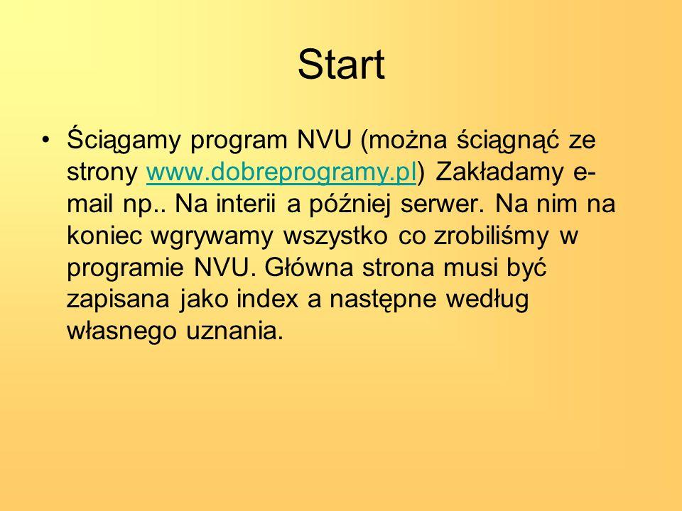 Start Ściągamy program NVU (można ściągnąć ze strony www.dobreprogramy.pl) Zakładamy e- mail np.. Na interii a później serwer. Na nim na koniec wgrywa