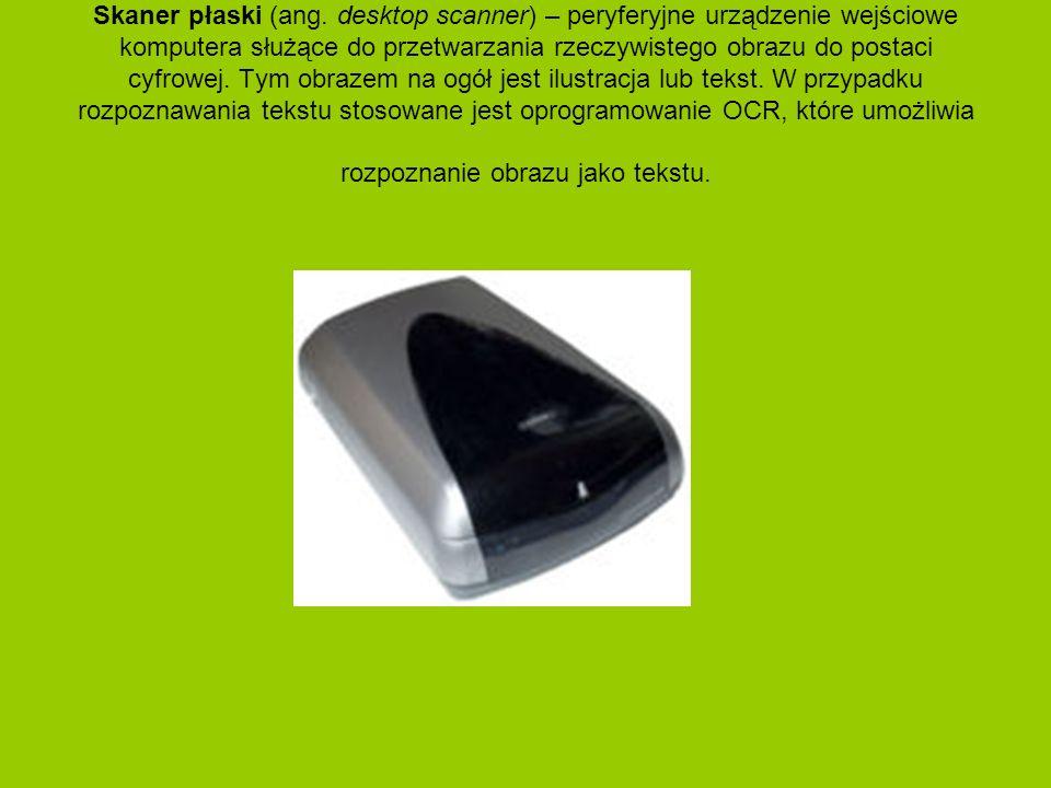Skaner płaski (ang. desktop scanner) – peryferyjne urządzenie wejściowe komputera służące do przetwarzania rzeczywistego obrazu do postaci cyfrowej. T