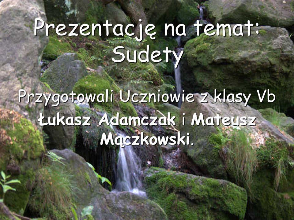 Prezentację na temat: Sudety Przygotowali Uczniowie z klasy Vb Łukasz Adamczak i Mateusz Mączkowski.