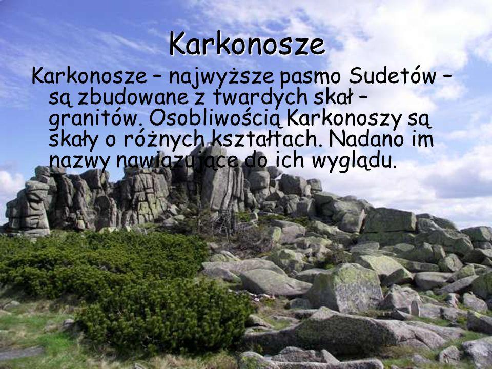 Karkonosze Karkonosze – najwyższe pasmo Sudetów – są zbudowane z twardych skał – granitów. Osobliwością Karkonoszy są skały o różnych kształtach. Nada