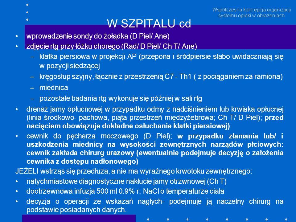 Współczesna koncepcja organizacji systemu opieki w obrażeniach W SZPITALU cd wprowadzenie sondy do żołądka (D Piel/ Ane) zdjęcie rtg przy łóżku choreg