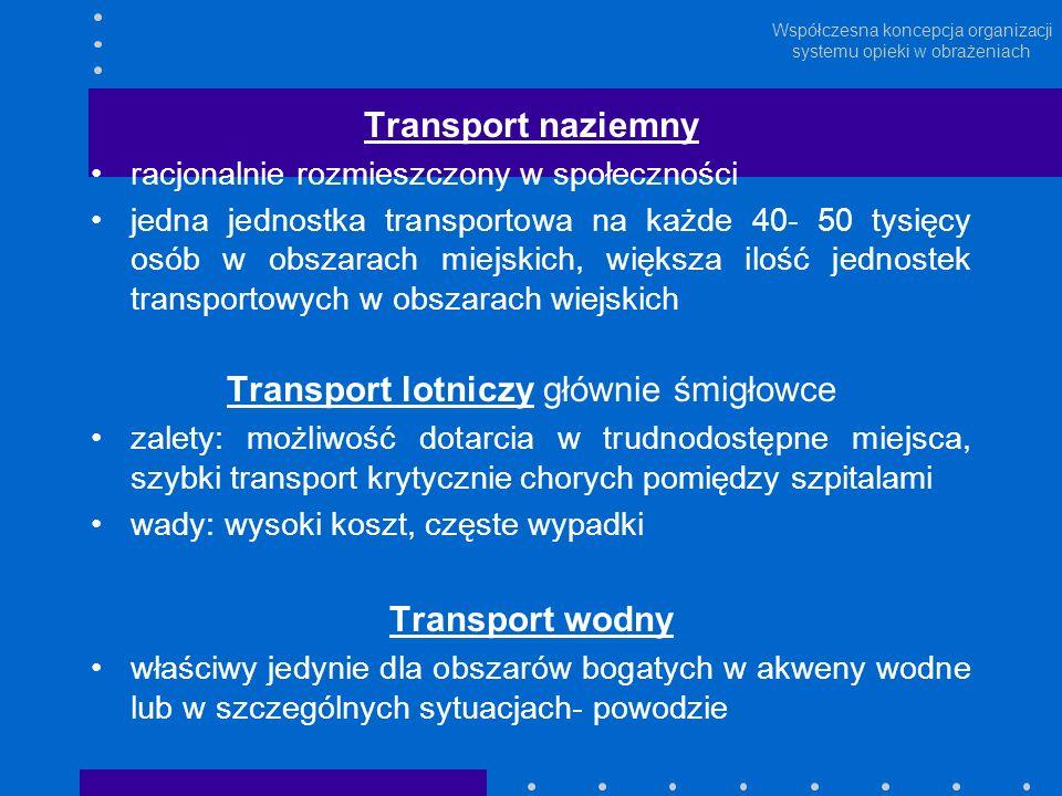 Współczesna koncepcja organizacji systemu opieki w obrażeniach Transport naziemny racjonalnie rozmieszczony w społeczności jedna jednostka transportow