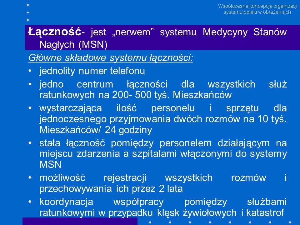 Współczesna koncepcja organizacji systemu opieki w obrażeniach Łączność - jest nerwem systemu Medycyny Stanów Nagłych (MSN) Główne składowe systemu łą