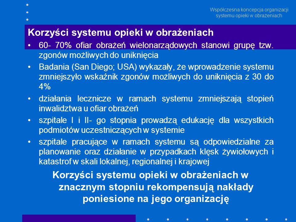 Współczesna koncepcja organizacji systemu opieki w obrażeniach Korzyści systemu opieki w obrażeniach 60- 70% ofiar obrażeń wielonarządowych stanowi gr