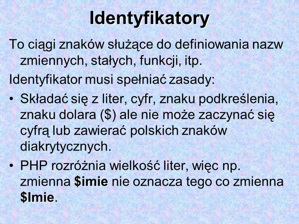 Identyfikatory To ciągi znaków służące do definiowania nazw zmiennych, stałych, funkcji, itp. Identyfikator musi spełniać zasady: Składać się z liter,